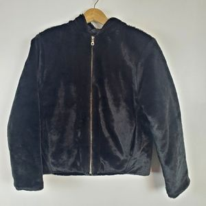 Nils faux fur zip up hooded jacket size small